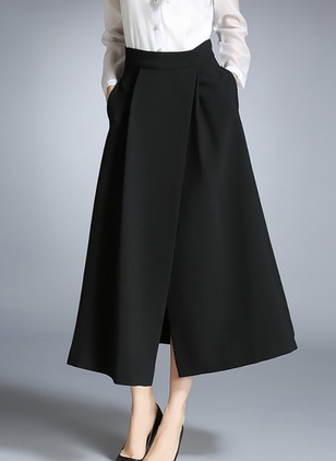 Polyester Solid Mid-Calf Casual Pockets Skirts