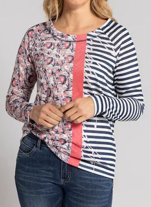 Stripe Round Neck Long Sleeve Casual T-shirts (146949840)