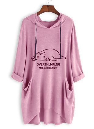 Animal Casual Hooded Pockets Sweatshirts