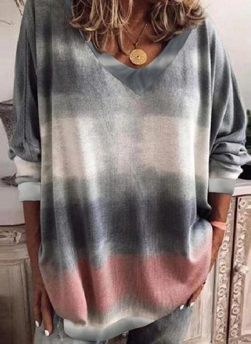 V Neckline Solid Casual Loose Shift Sweaters (1675632117)
