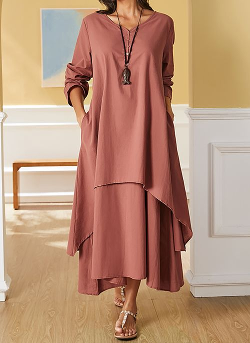 Grande Taille Taille Robes Casual Neutre Manches Longues Maxi Floryday