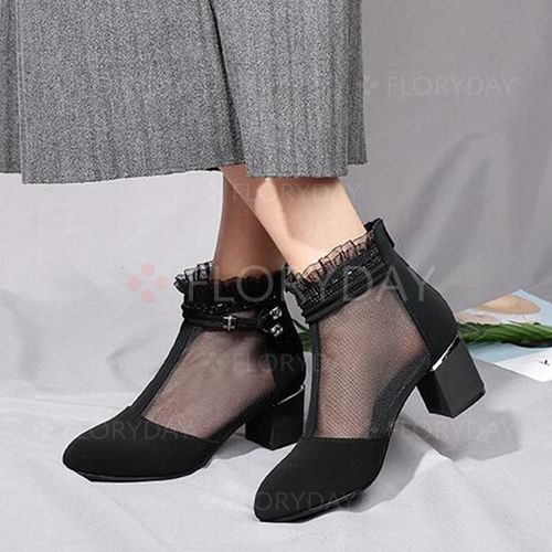 e91ef055d74d Zipper Hollow-out Closed Toe Chunky Heel Shoes - Floryday