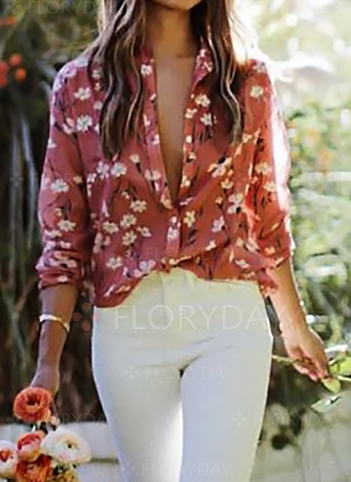 e99be83d720e67 Floral Arabian Collar Long Sleeve Blouses - Floryday