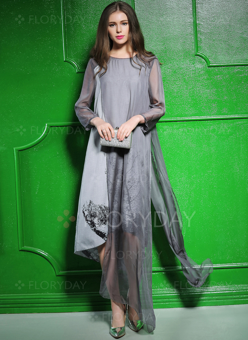 57a983d6d40 Floral 3 4 Sleeves High Low Shift Dress - Floryday