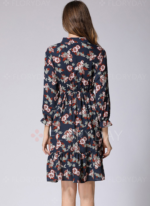 solid 34 sleeves kneelength shift dress floryday