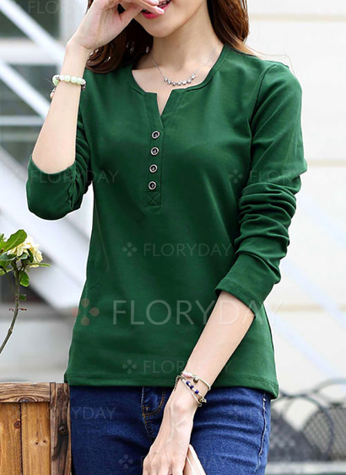 fa5dce11009e37 Cotton Solid Round Neck Long Sleeve Casual T-shirts - Floryday