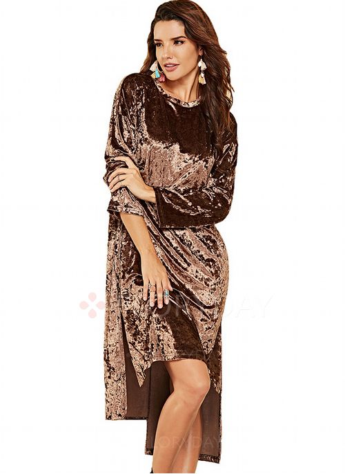 79e9f9cc420 Solid Long Sleeve High Low Shift Dress - Floryday