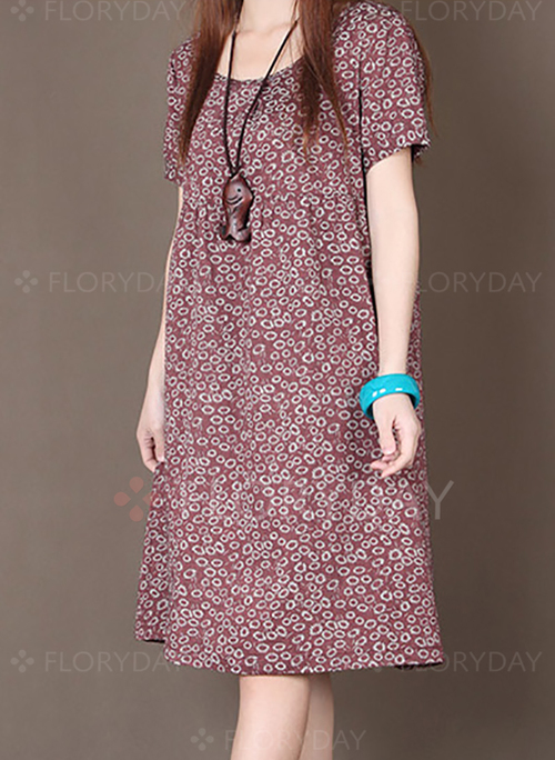 short sleeve kneelength shift dress floryday