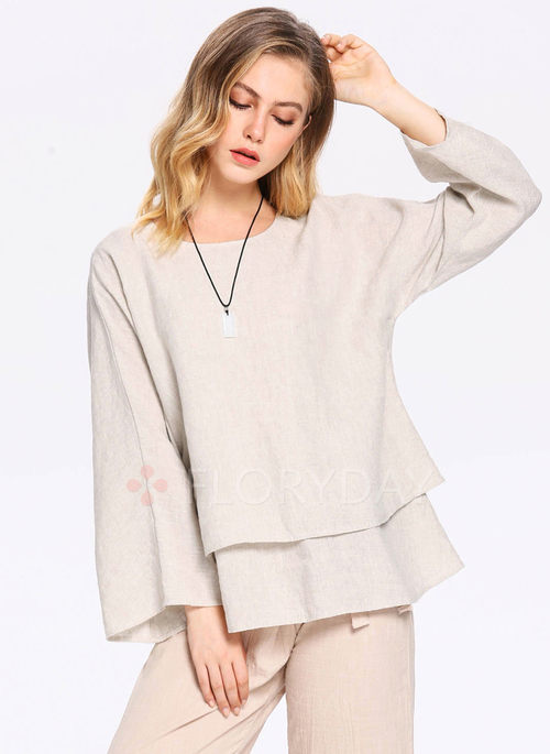 304f1f427dba02 Solid Casual Cotton Linen Round Neckline Long Sleeve Blouses - Floryday