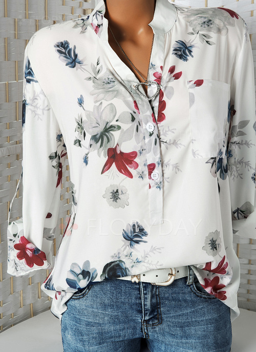 cda1d351839a8 Floral Casual Stand Collar Long Sleeve Blouses - Floryday
