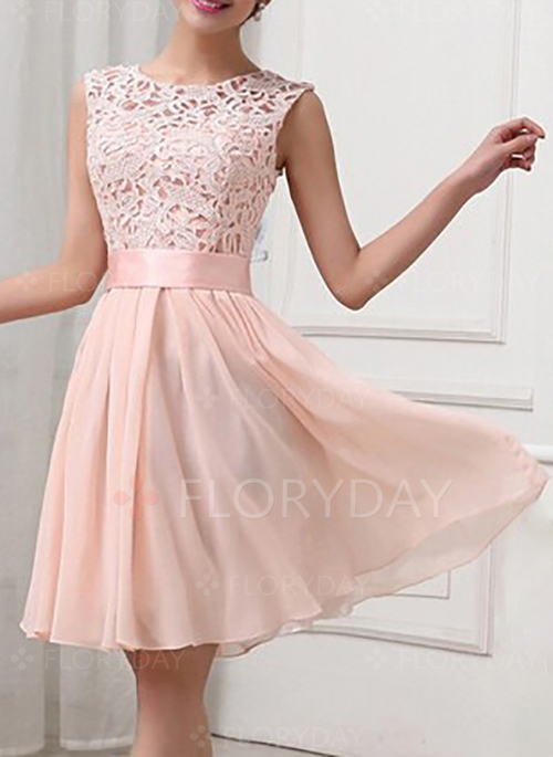 Solid Lace Sleeveless Knee-Length A-line Dress - Floryday