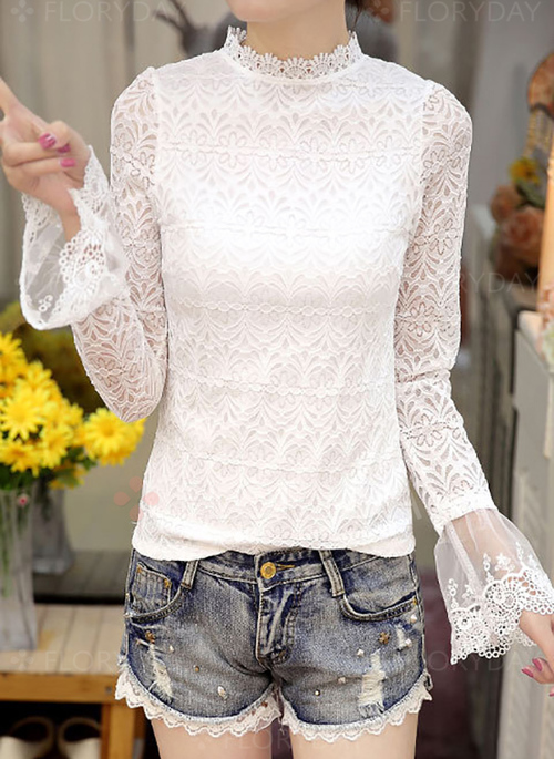 94132e7c909f19 Solid Casual Cotton Round Neckline Long Sleeve Blouses - Floryday