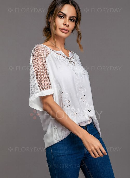 cd0811bb63cc9 Floral Boat Neckline Short Sleeve Blouses - Floryday