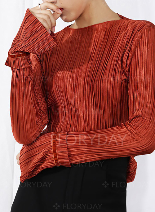 884b1e6374abe3 Solid Casual Polyester Round Neckline Long Sleeve Blouses - Floryday