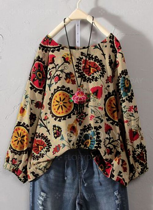 3ad678eb810c6 Floral Vintage Round Neckline Long Sleeve Blouses - Floryday