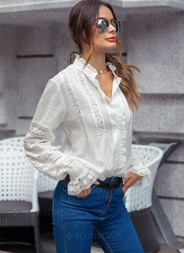 c871db5ca65aa Solid Stand Collar Long Sleeve Blouses - Floryday