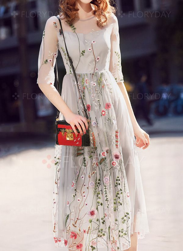15eabc235fac Floral Round Neckline Half Sleeve Midi X-line Dress - Floryday