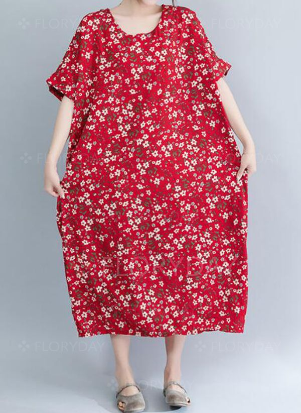 aad5a4d016cb Plus Size Floral Half Sleeve Midi Shift Dress - Floryday