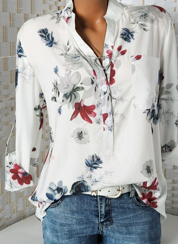 91558a42163bd Floral Casual Stand Collar Long Sleeve Blouses - Floryday
