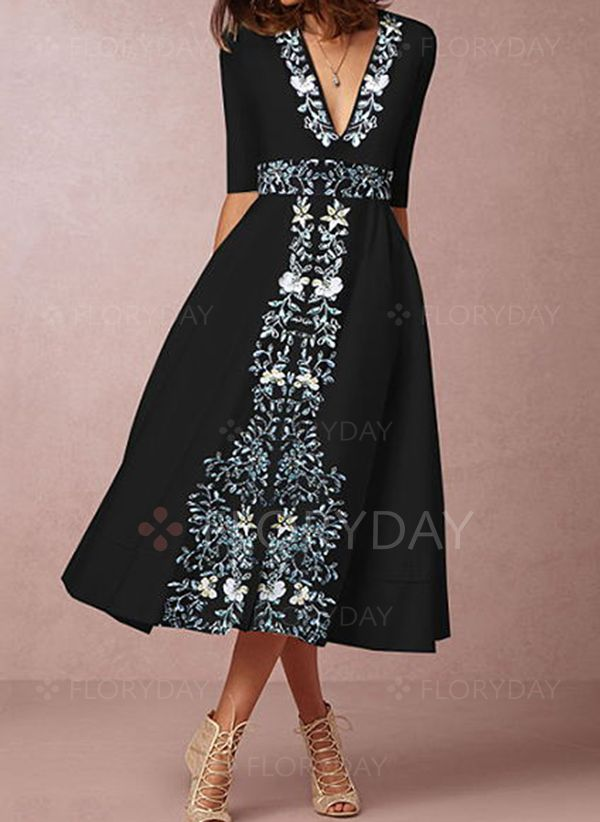 fa3677f271c8 Floral V-Neckline Half Sleeve Midi X-line Dress - Floryday