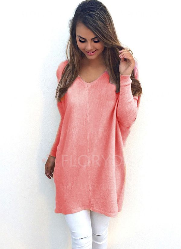 V Neckline Solid Casual Loose Long Shift Sweaters