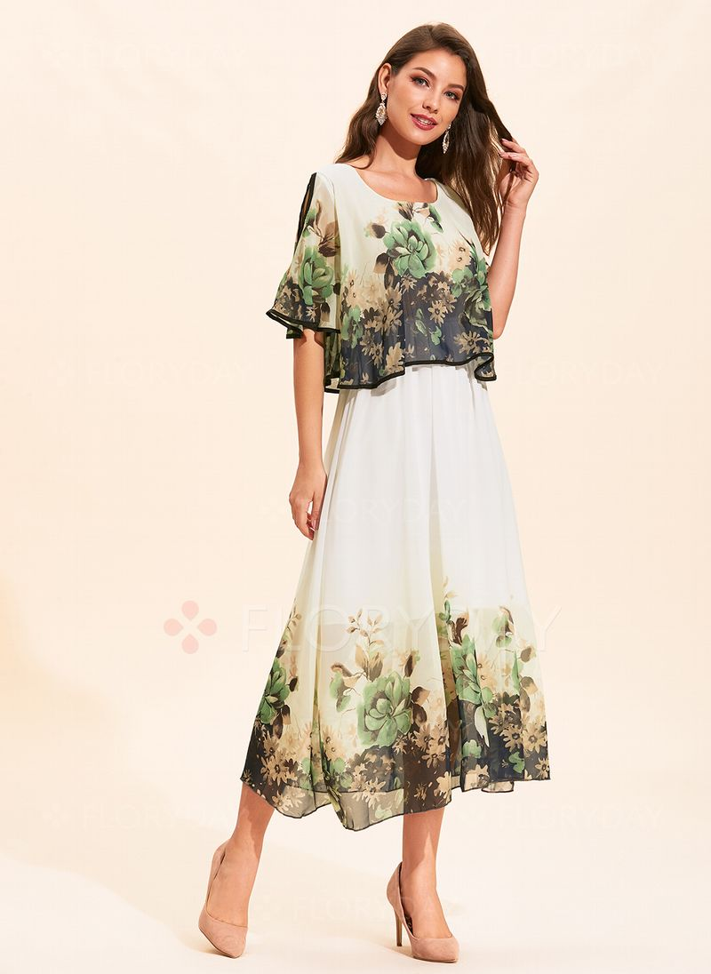c516134813b4 Floral Round Neckline Half Sleeve Maxi X-line Dress - Floryday