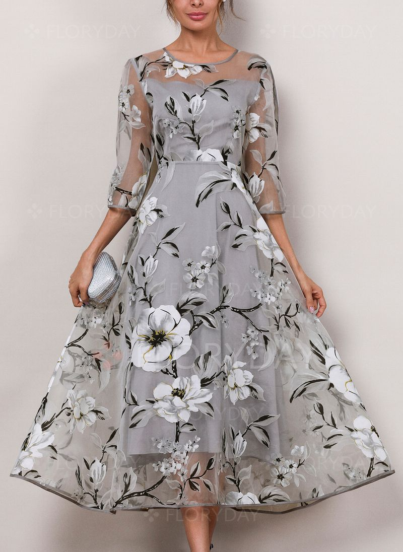 b8efbd62a3b4 Floral 3/4 Sleeves Midi X-line Dress - Florydeal